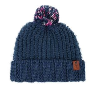The North Face Navy Blue Chunky Knit Pom Beanie